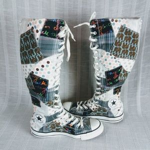 Converse Patchwork Knee High Sneakers 8 Lace Zip